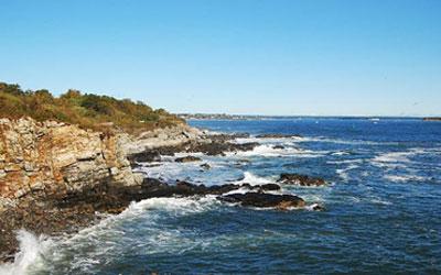 View of the rocky Maine shoreline near the Portland hotel Inn at St. John.