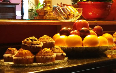 Muffins and fruit for the continental breakfast at the Inn at St. John in Portland, Maine